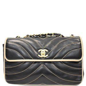 Chanel Chevron Contrast Lambskin Flap Handbag